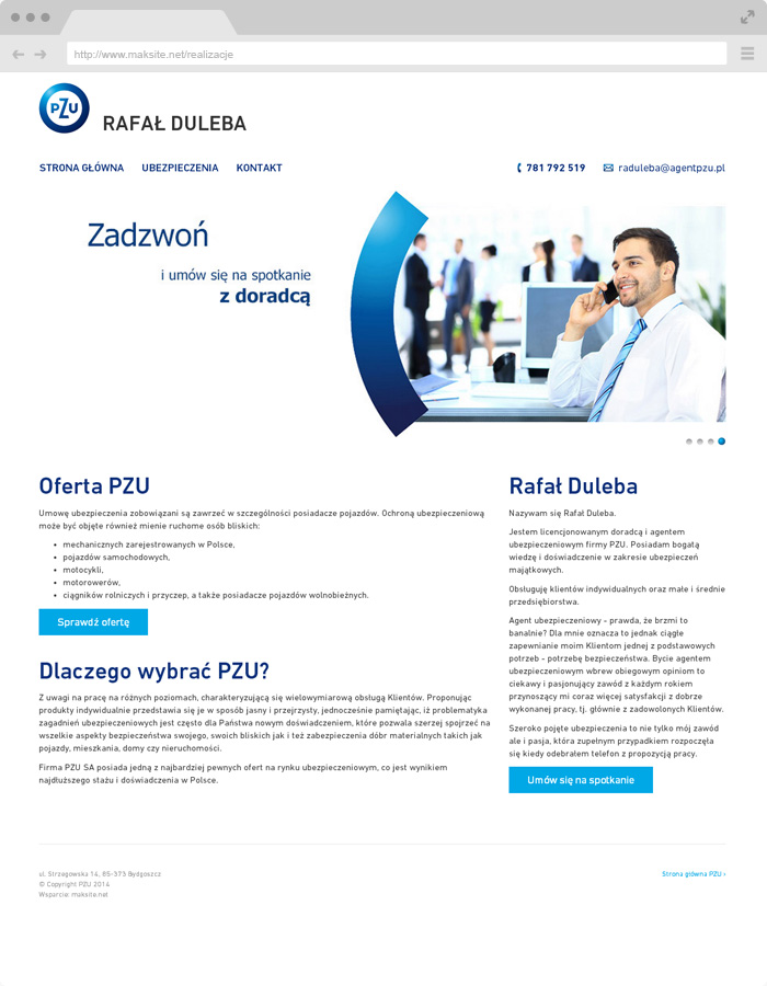 page on PZU wordpress template