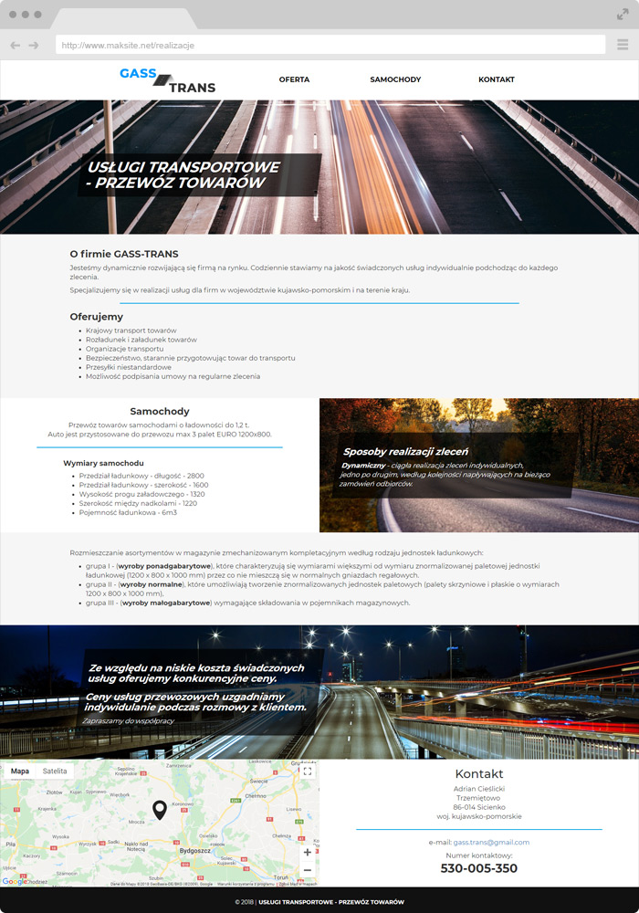 Sample website design - transport