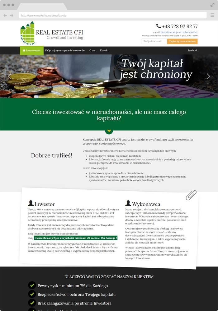 Sample website design - investments