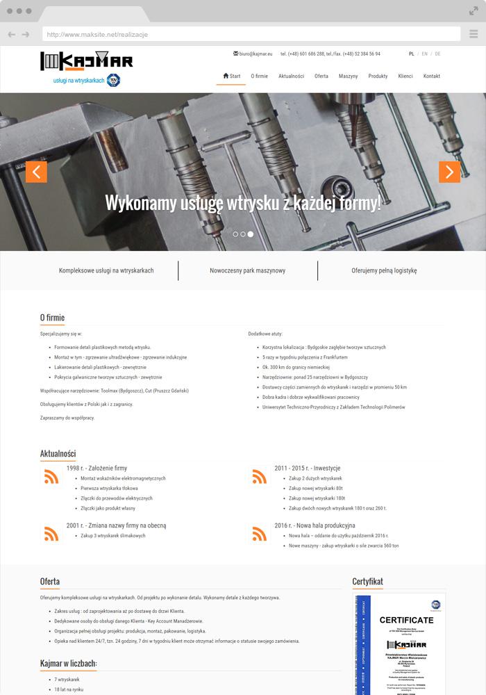 Website-Beispieldesign - Dienstleistungen an Spritzgussmaschinen