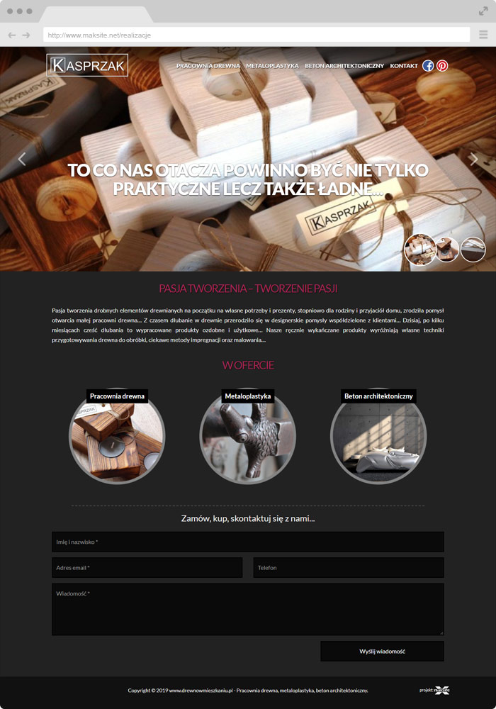 Sample website design - wood studio