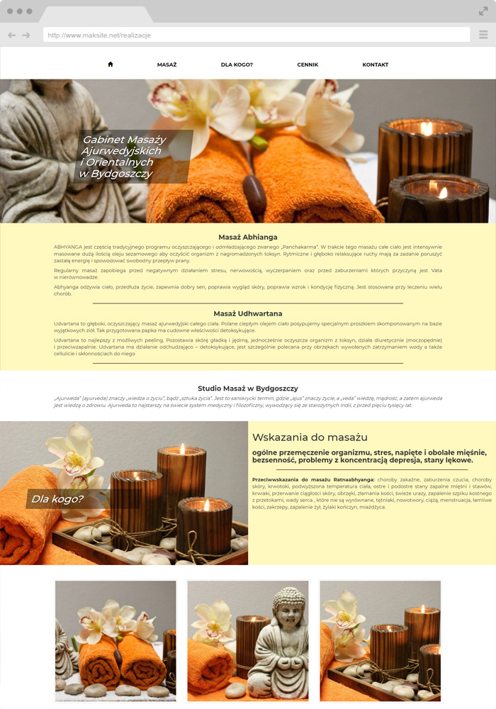 Sample website design - tantric massage