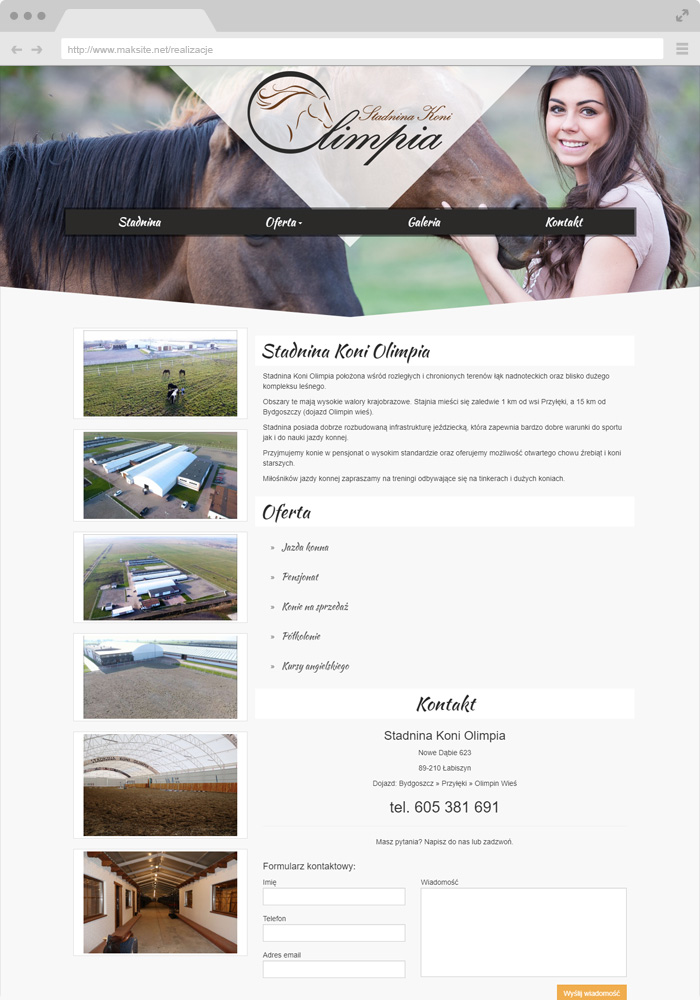 Sample website design - horse farm