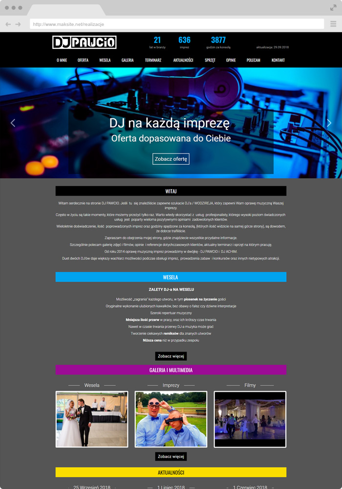 Sample website design - dj, master