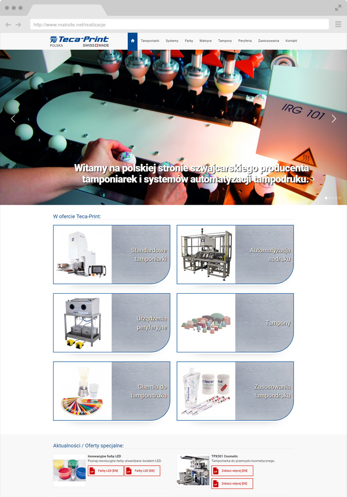 Sample website design - padding machines
