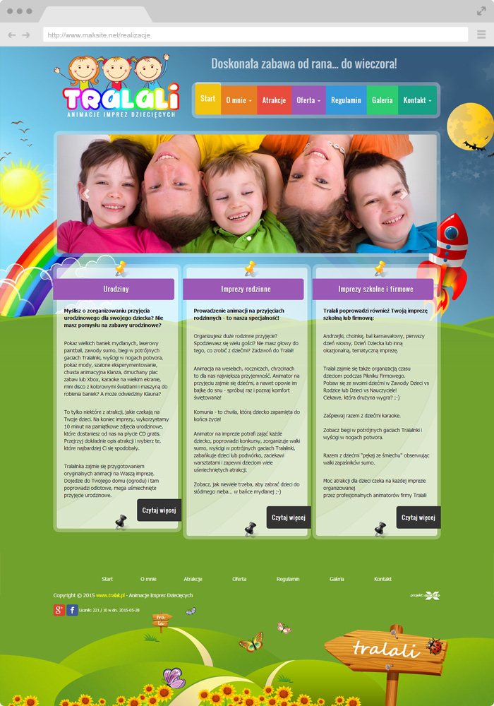 Sample website design - animations for children