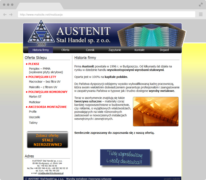 Web Sitemap Page: Website Project : Austenit Steel Trade